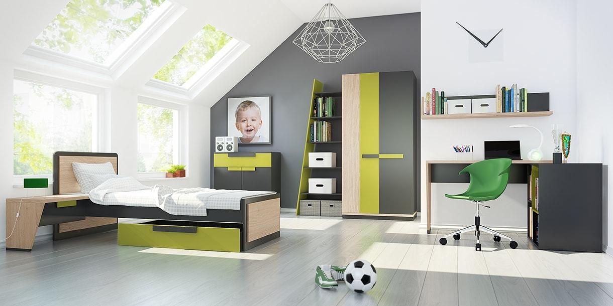 Set Mobila dormitor din pal, pentru copii 9 piese Wow Oak / Graphite imagine