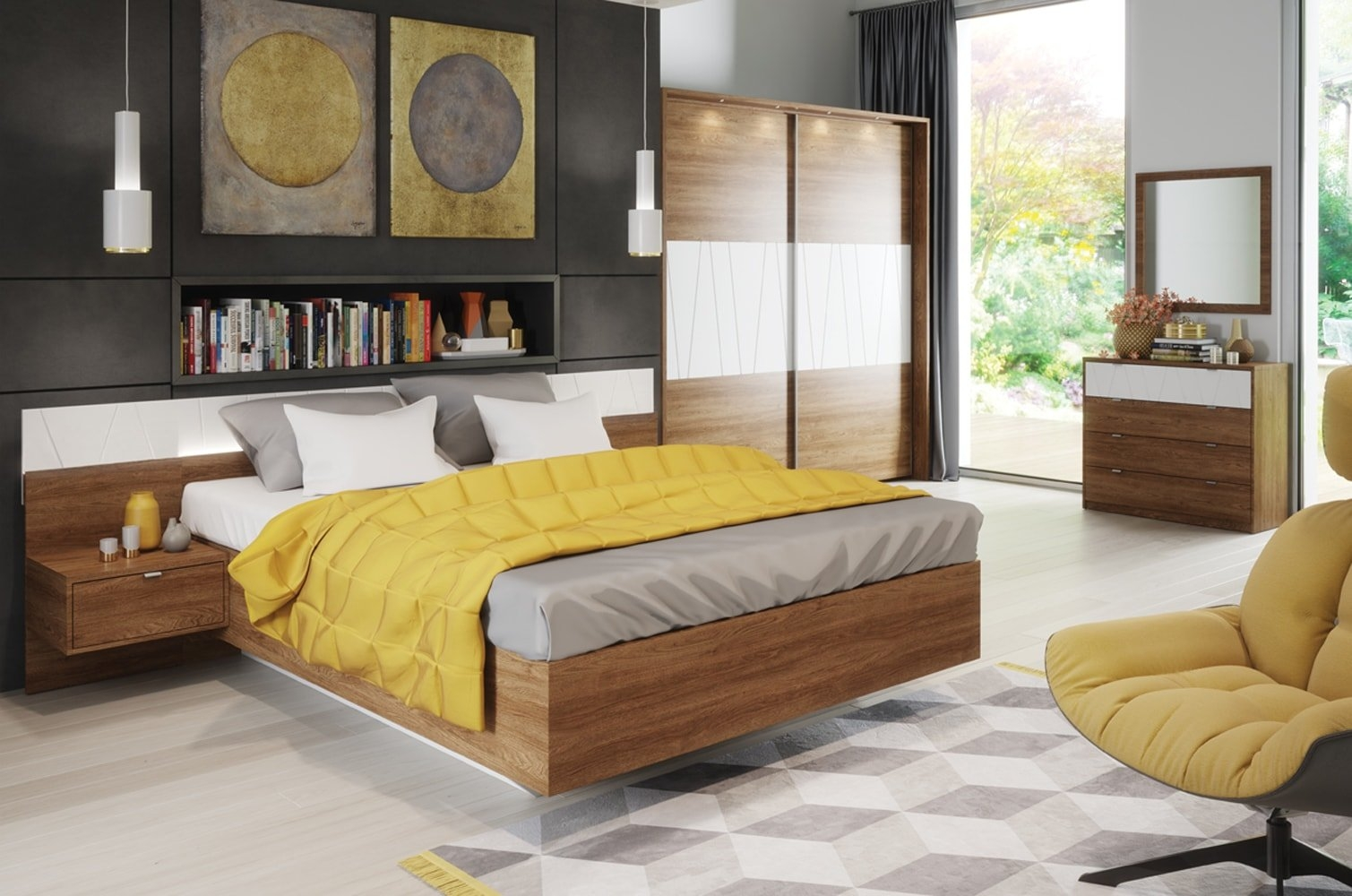 Set Mobila Dormitor Zefir Dormitoare Ilustratie