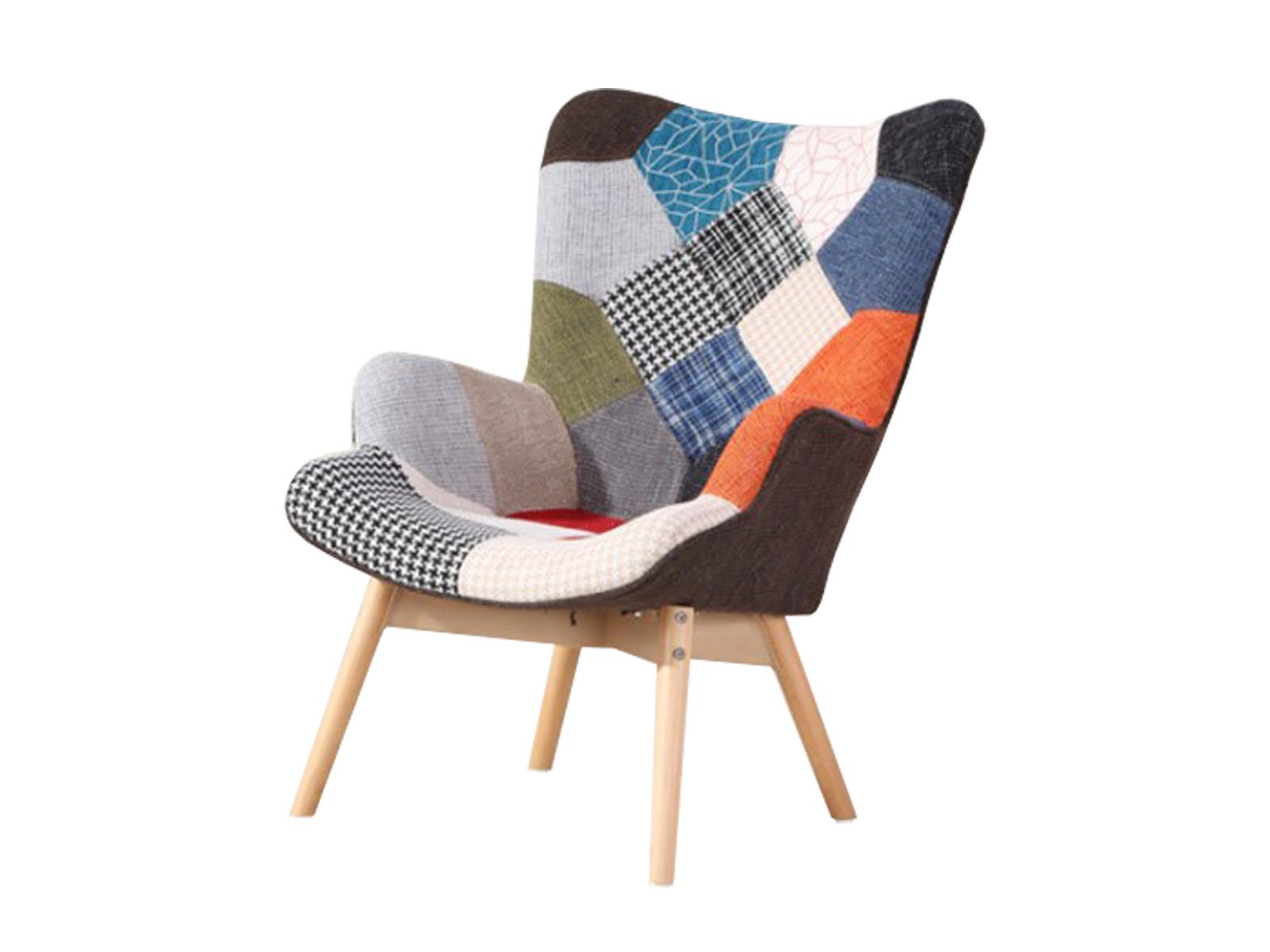 Fotoliu tapitat cu stofa si picioare de lemn Zigazag Multicolour l78xA70xH95 cm